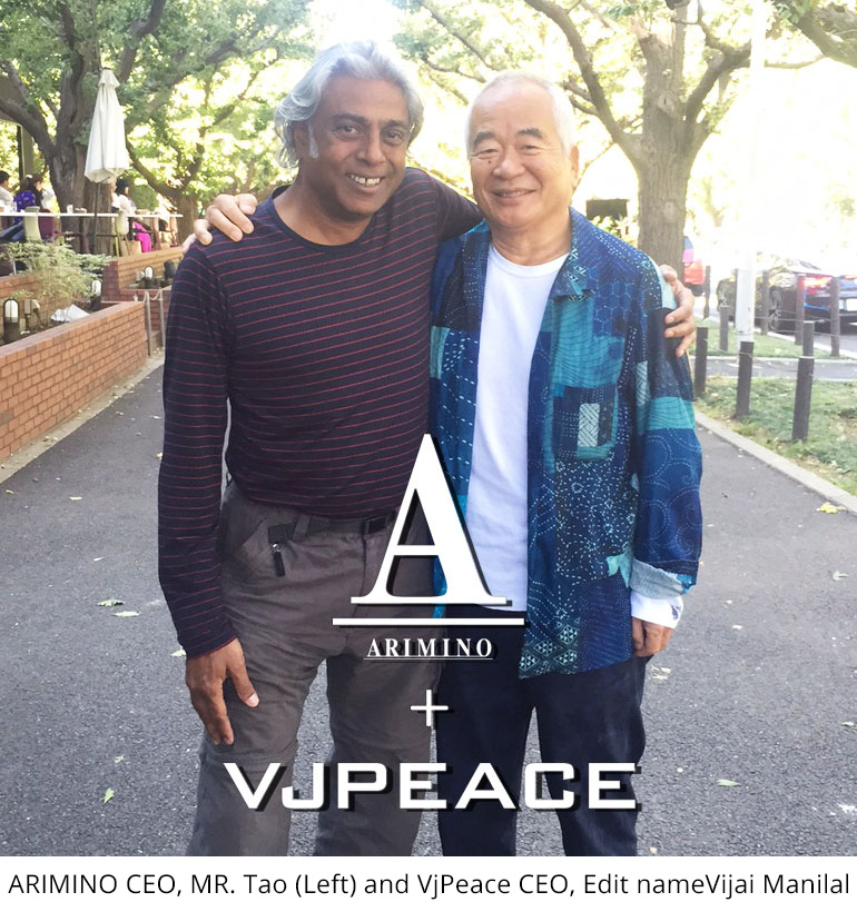 ARIMINO CEO, MR. Tao (Left) and VjPeace CEO, Edit nameVijai Manilal